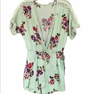Mint Green Floral Romper